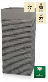 Set of Two H60cm Medium Light Grey Fibrecotta Brick Design Tower Planters - By Primrose™