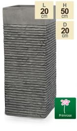 Set of Two H50cm Small Light Grey Fibrecotta Brick Design Tower Planters - By Primrose™