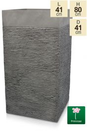 Set of Two H80cm Extra Large Light Grey Fibrecotta Brick Design Tower Planters - By Primrose™