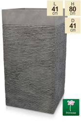 H80cm Extra Large Light Grey Fibrecotta Brick Design Tower Planter - By Primrose™