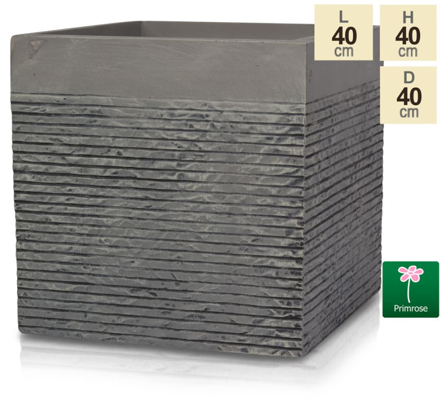 Set of Two H40cm Large Light Grey Fibrecotta Brick Design Cube Planters - By Primrose™