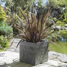 H40cm Large Light Grey Fibrecotta Brick Design Cube Planter - By Primrose™