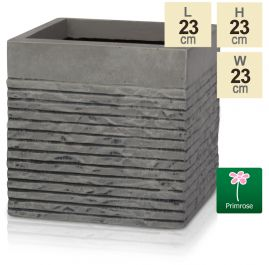 H23cm Small Light Grey Fibrecotta Brick Design Cube Pot - By Primrose™