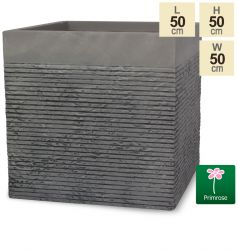 H50cm Extra Large Light Grey Fibrecotta Brick Design Cube Planter - By Primrose™