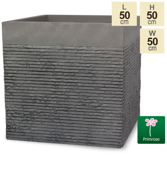 Set of Two H50cm Extra Large Light Grey Fibrecotta Brick Design Cube Planters - By Primrose™