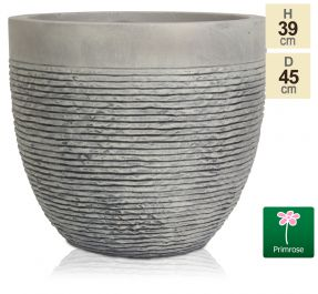 Set of Two H39cm Large Light Grey Fibrecotta Brick Design Egg-Shaped Planter - By Primrose™