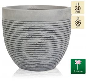 Set of Two H30cm Medium Light Grey Fibrecotta Brick Design Egg-Shaped Pots - By Primrose™