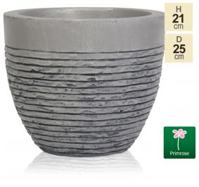 H21cm Small Light Grey Fibrecotta Brick Design Egg-Shaped Pot - By Primrose™