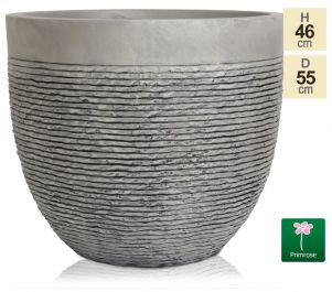 Set of Two H46cm Extra Large Light Grey Fibrecotta Brick Design Egg-Shaped Planter - By Primrose™