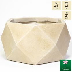 41cm Light Stone Fibrecotta Geometric Cylinder Planter by Primrose™