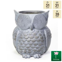 H35cm Graphite Fibrecotta Owl Shaped Planter by Primrose™