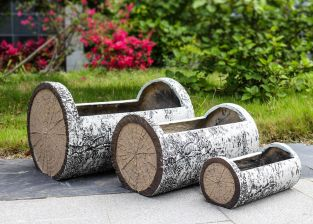 Birch Wood Effect Fibrecotta Trough Planter by Primrose® - Mixed Set of 3