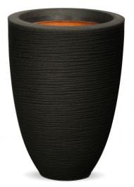 58cm Capi Nature Rib NL Vase Elegant Low Planter in Black