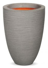 47cm Capi Nature Rib NL Vase Elegant Low Planter in Grey
