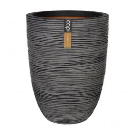 47cm Capi Nature Rib NL Vase Elegant Low Planter in Anthracite