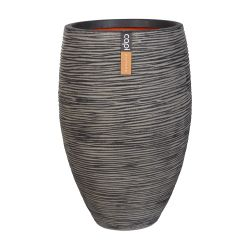 60cm Capi Nature Rib NL Elegant Deluxe Vase Planter in Anthracite