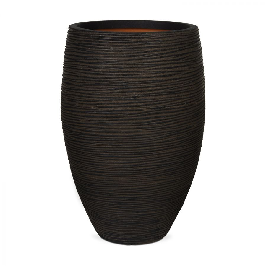 56cm Capi Nature Rib NL Elegant Deluxe Planter in Dark Brown