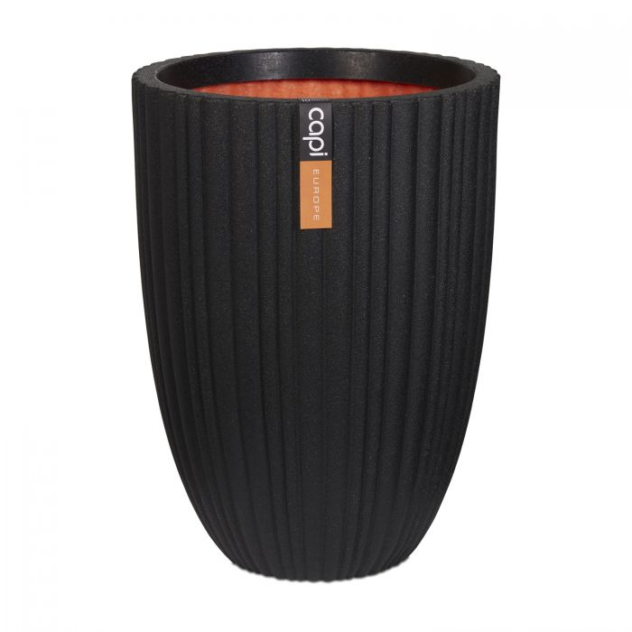 58cm Capi Urban NL Vase Elegant Low Tube Planter in Black