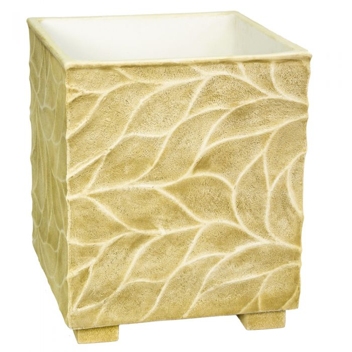 55cm Polystone Leaf Embossed Sandy Brown Cube Planter - By Primrose™