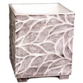 55cm Polystone Leaf Embossed Grey Cube Planter - By Primrose™