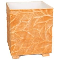 55cm Polystone Leaf Embossed Terracotta Cube Planter - By Primrose™