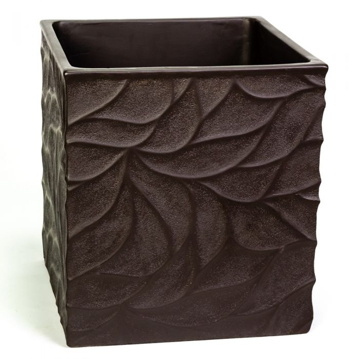 55cm Polystone Leaf Embossed Anthracite Cube Planter - By Primrose™