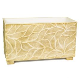 90cm Polystone Leaf Embossed Brown Trough Planter - By Primrose™
