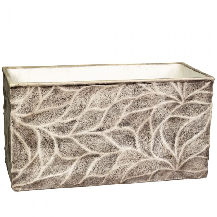 90cm Polystone Leaf Embossed Grey Trough Planter - By Primrose™