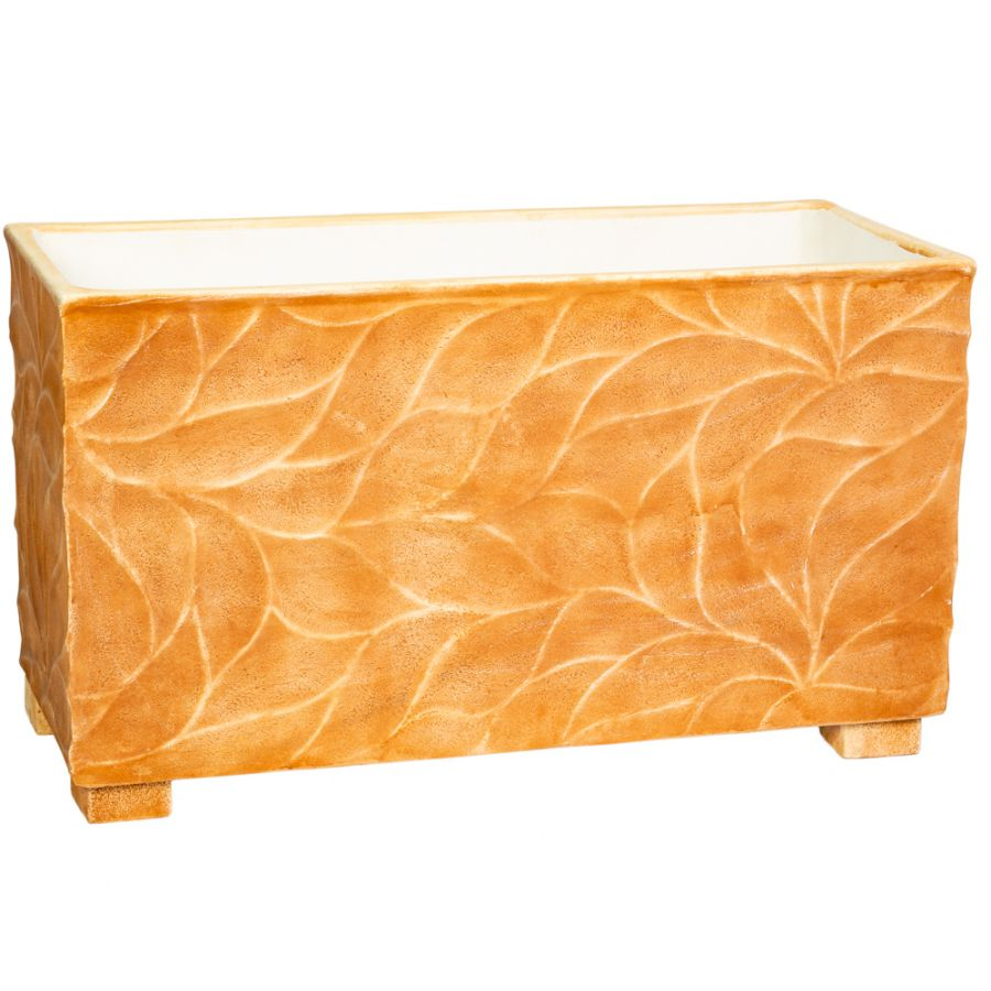 90cm Polystone Leaf Embossed Terracotta Trough Planter - By Primrose™