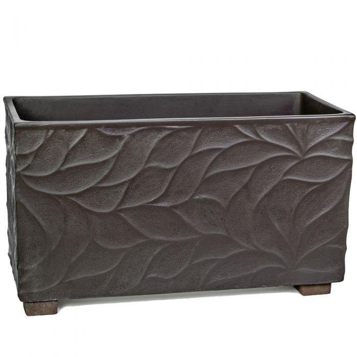 90cm Polystone Leaf Embossed Anthracite Trough Planter - By Primrose™