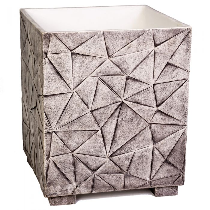 55cm Polystone Embossed Geometric Grey Cube Planter - By Primrose™