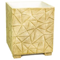 55cm Polystone Embossed Geometric Sandy Brown Cube Planter - By Primrose™