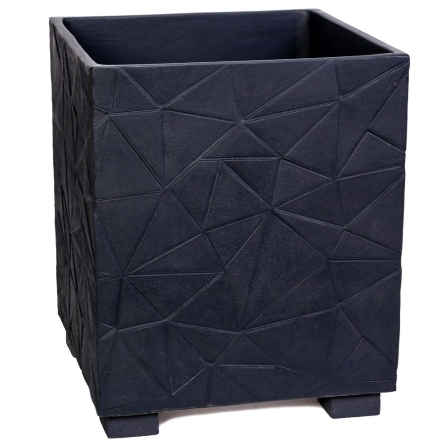 55cm Polystone Embossed Geometric Anthracite Cube Planter - By Primrose™