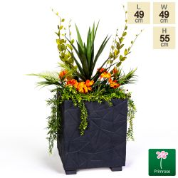 55cm Polystone Embossed Geometric Anthracite Cube Planter - By Primrose®