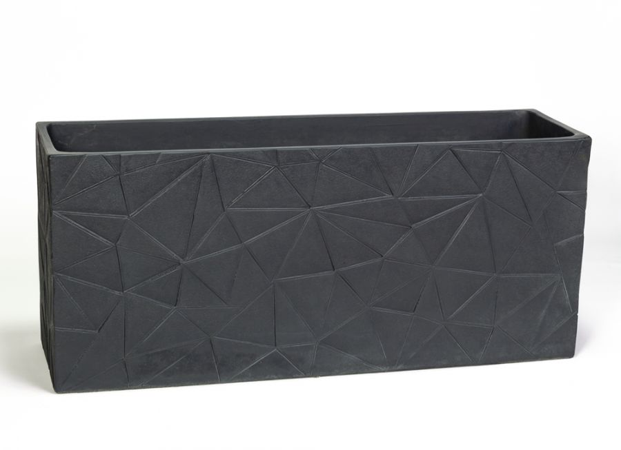 90cm Polystone Embossed Geometric Anthracite Trough Planter - By Primrose™