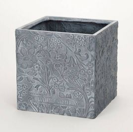 38cm Lyla Grey Cube Embossed Planter