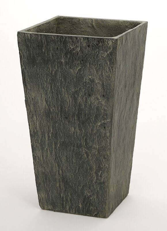 50cm Slate Effect Dark Grey Tall Square Planter
