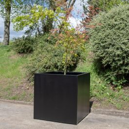 H1m XL Polystone Cube Planter in Black