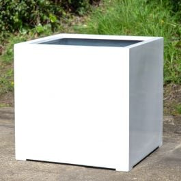 H75cm Jumbo Stone Composite Cube Planter in White