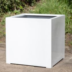 H1m XL Stone Composite Cube Planter in White