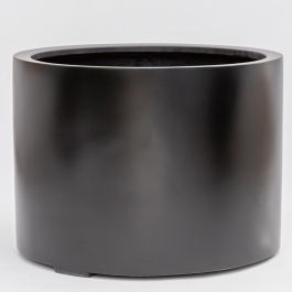 H50cm Large Stone Composite Low Cylinder Planter in Black