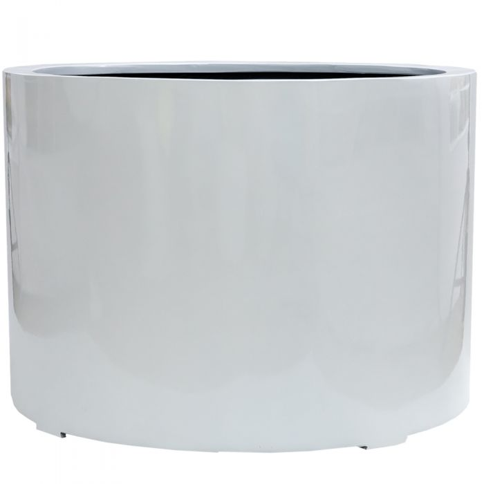 L1m Jumbo Stone Composite Low Cylinder Planter in White