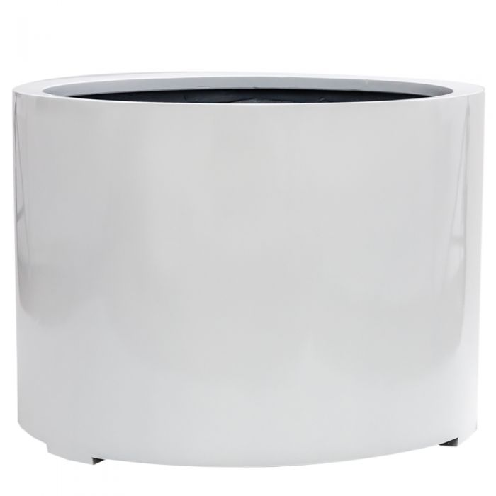 H50cm Large Stone Composite Low Cylinder Planter in White