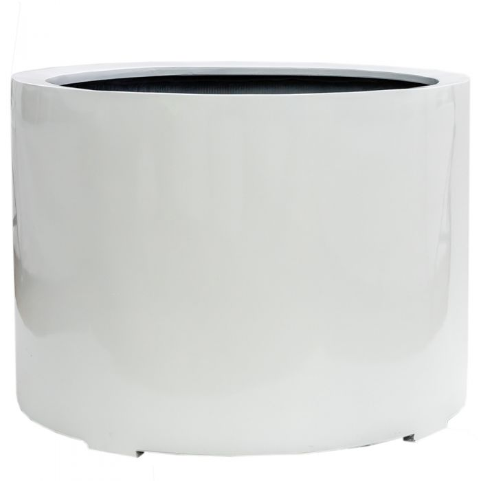 L85cm XL Stone Composite Low Cylinder Planter in White