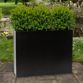 H70cm XL Stone Composite Tall Trough Planter in Black