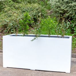 L1.5m Jumbo Polystone Trough Planter in White