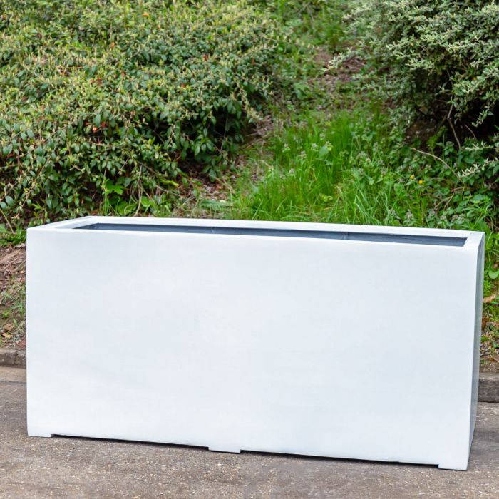 L1.2m XL Stone Composite Trough Planter in White