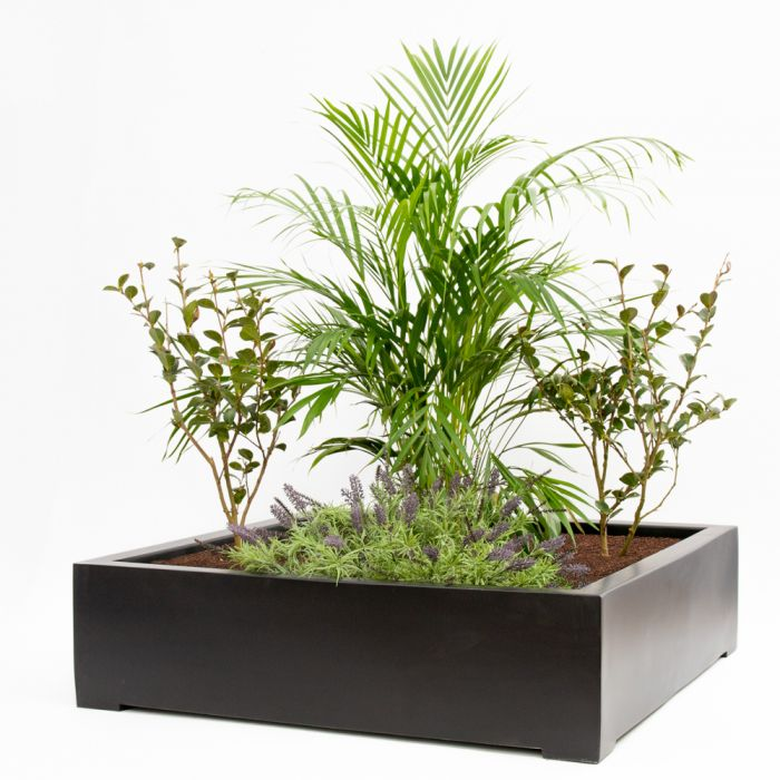 L1m Low Polystone Square Planter in Black