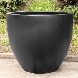 H97cm Jumbo Lotus Stone Composite Planter in Black