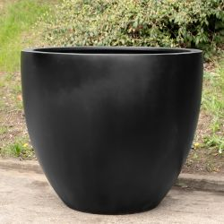 H73cm Large Lotus Stone Composite Planter in Black